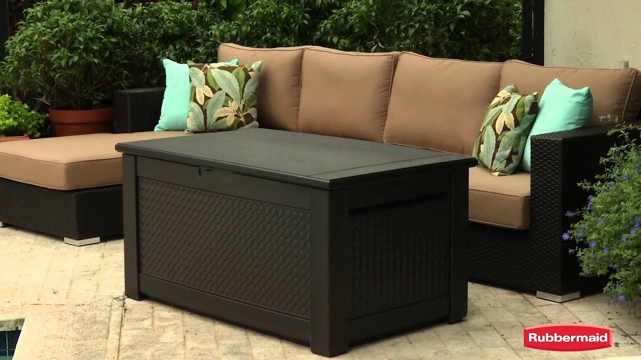 Rubbermaid Patio Chic Storage Bench In 2020 Patio Furniture Storage Patio Cushion Storage Rubbermaid Outdoor Storage