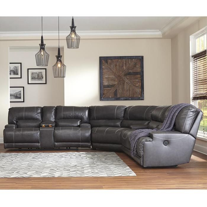 3 Piece Gray Leather Reclining Sofa Power Reclining Sectional