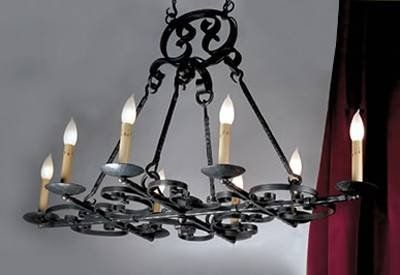 Mica Lamp Company LF521-B/B 8 Light Monterey Iron Burgundy Chandelier, Vintage Black Fire
