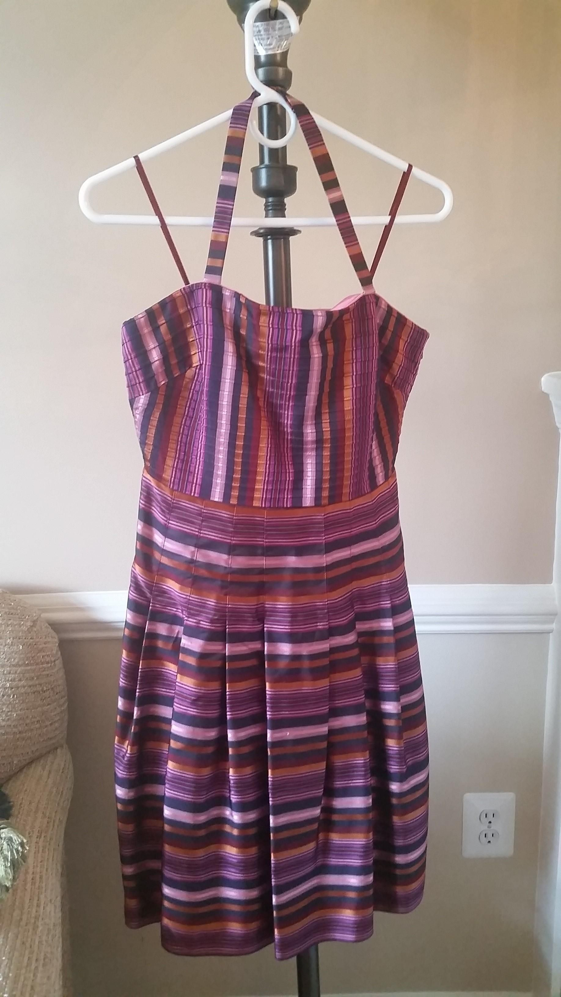 Pink Navy Orange Fuscia Striped Silk Halter Cocktail Dress