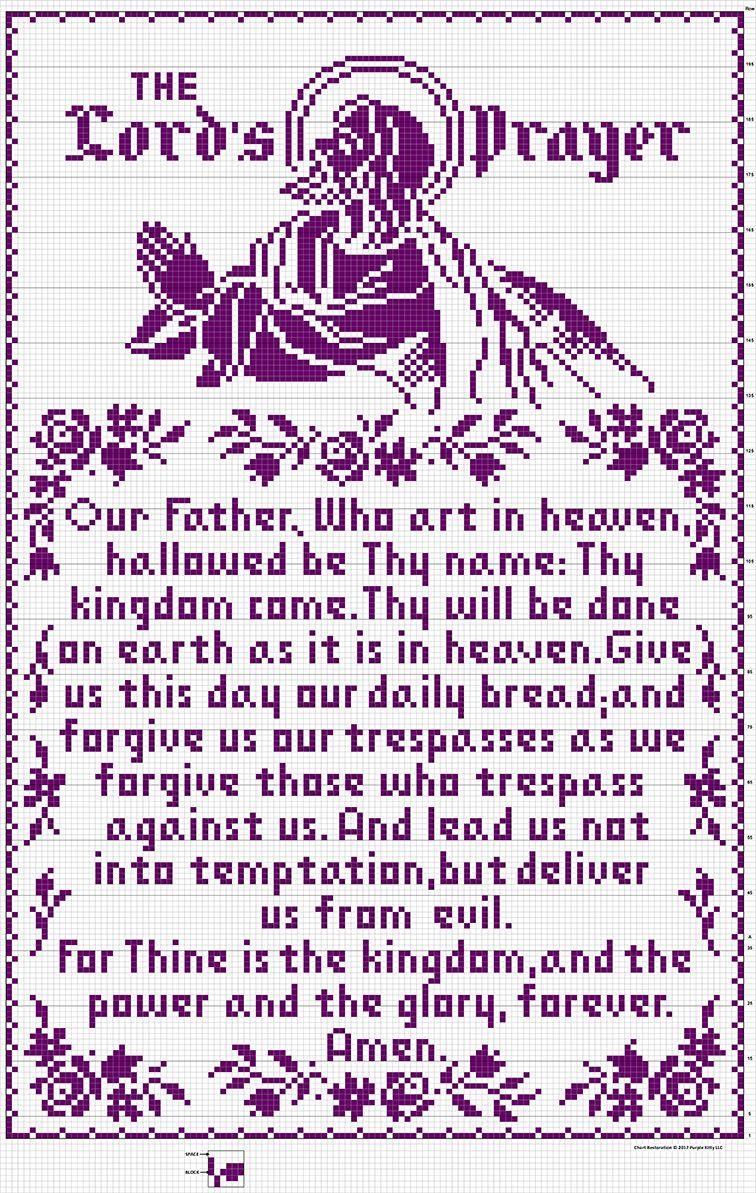 The Lord\'s Prayer Filet Crochet Wall Panel #703 chart restored ...
