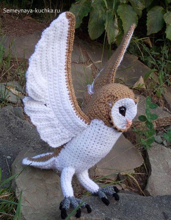 сова крючком с широкими крыльями бежевая с белым | Сипухи ...