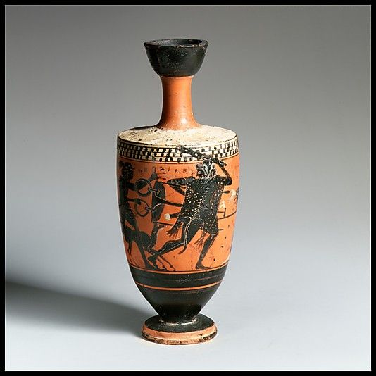Terracotta lekythos (oil flask)  Attributed to the manner of the Sappho Painter
