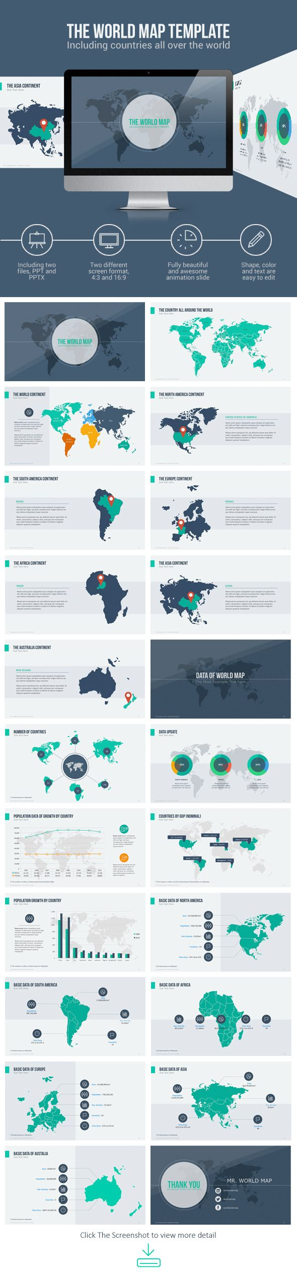 World map with animation pinterest animation template and world map with animation powerpoint template powerpoint powerpointtemplate presentation download gumiabroncs Choice Image