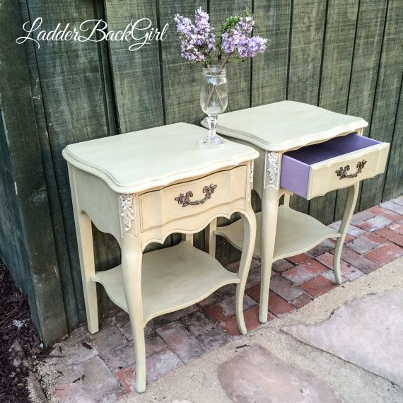SOLD   Vintage French Provincial Nightstands / End Tables Painted With  Annie Sloan Chalk Paint Versailles