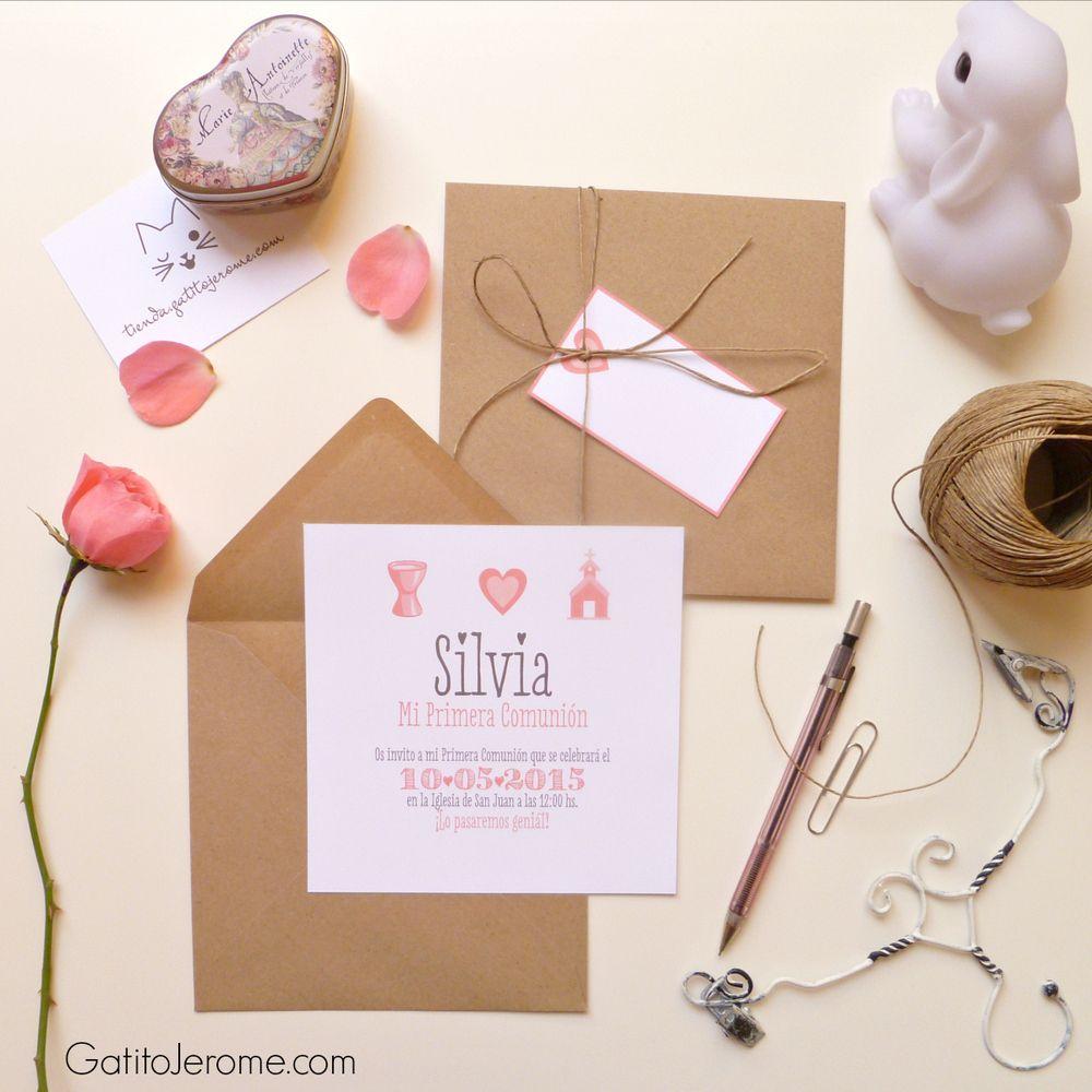 Sencilla y estilosa invitaci n en formato d ptico tarjeta - Invitaciones comunion busquets ...