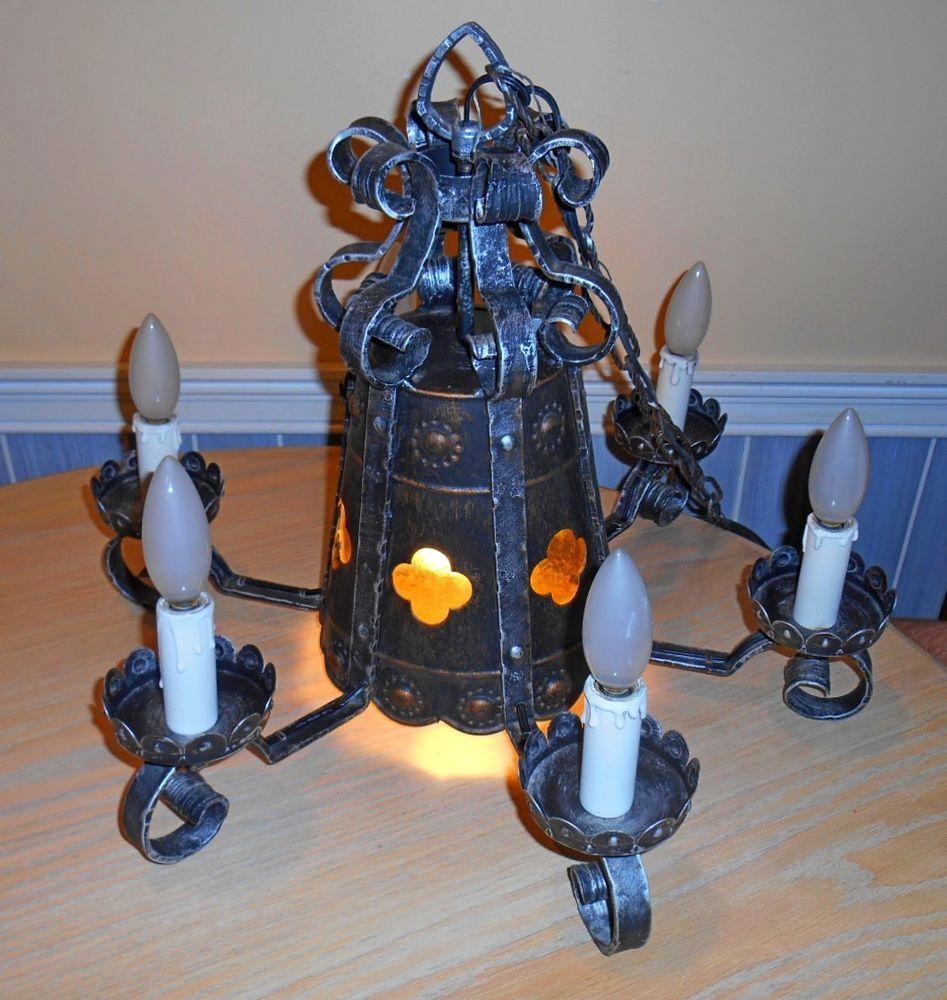 Vtg Italian Medieval Goth Hanging Lamp Chandelier
