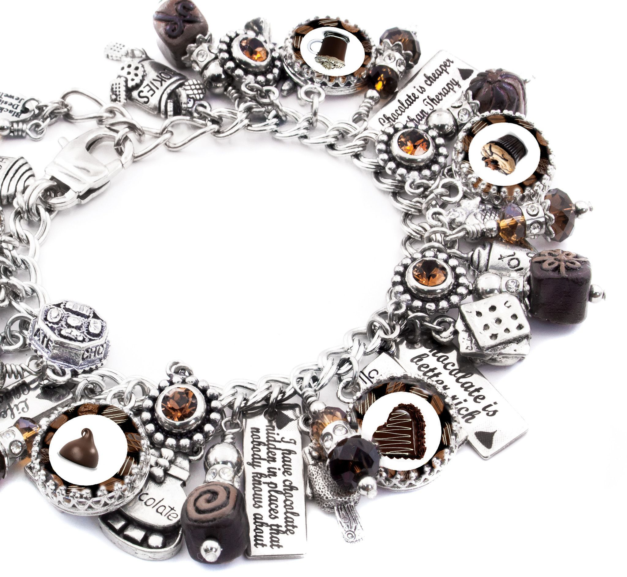 """My jewelry store features handmade jewelry, charm bracelets, necklaces, earrings, this wonderful """"Chocolate is Better Rich"""" charm bracelet and over 400 more unique jewelry designs. My jewelry is creat"""