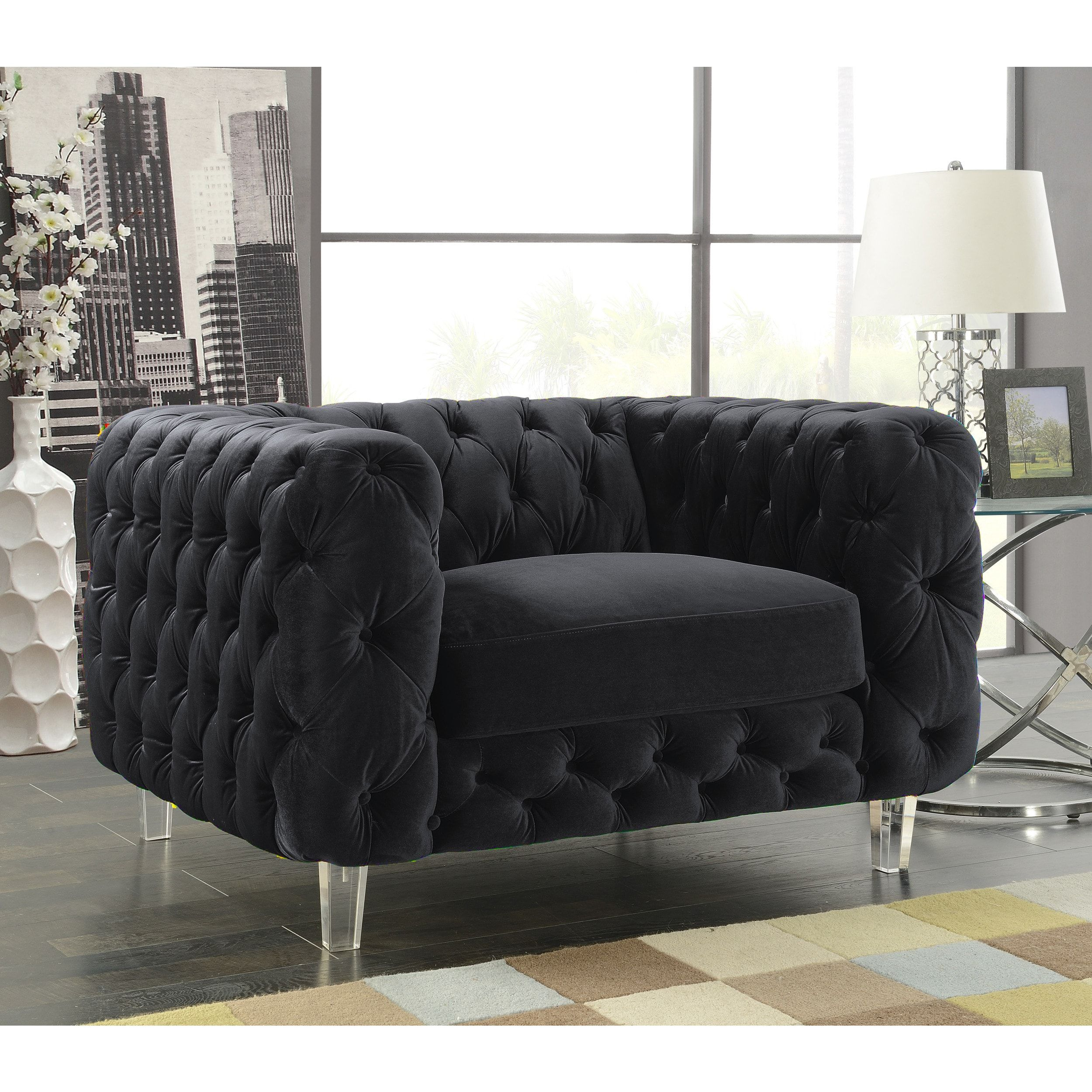 Chic home modern contemporary tufted velvet down mix