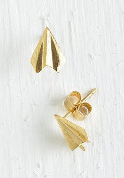Plane and Simple Earrings in Gold