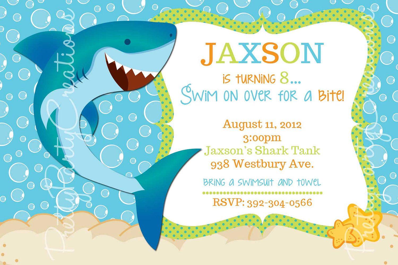Shark Invitation You Print Birthday Pool Party Birthday Pool