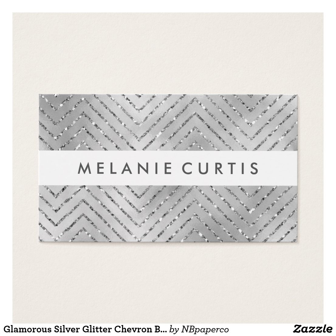 Glamorous Silver Glitter Chevron Business Business Card