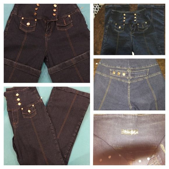 Drama Gold High Waisted Straight Leg Jean- Sz 10 Get that 70s style with this high waisted 6 button, zip fly jean.   No back pockets.  Worn once. Excellent Condition. 58% Ramie, 20% Cotton, 20% Polyester, 2% Spandex. Imported Drama Gold Jeans Company  Jeans Straight Leg