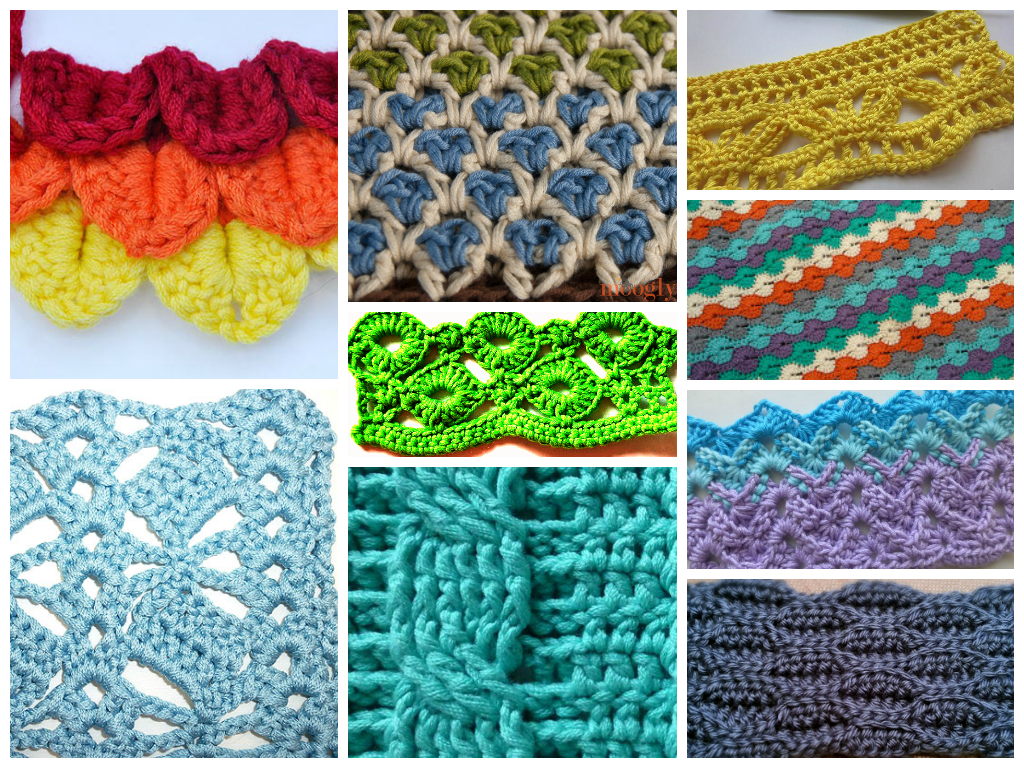 Interesting and Unique Crochet Stitches..... FREE patterns ...