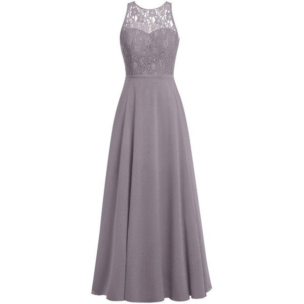 Dresstells Long Bridesmaid Dress Scoop Chiffon Evening Gowns with Lace (€45) ❤ liked on Polyvore featuring dresses, gowns, lace dress, bridesmaid gown, long purple dress, long lace gown and long lace dress