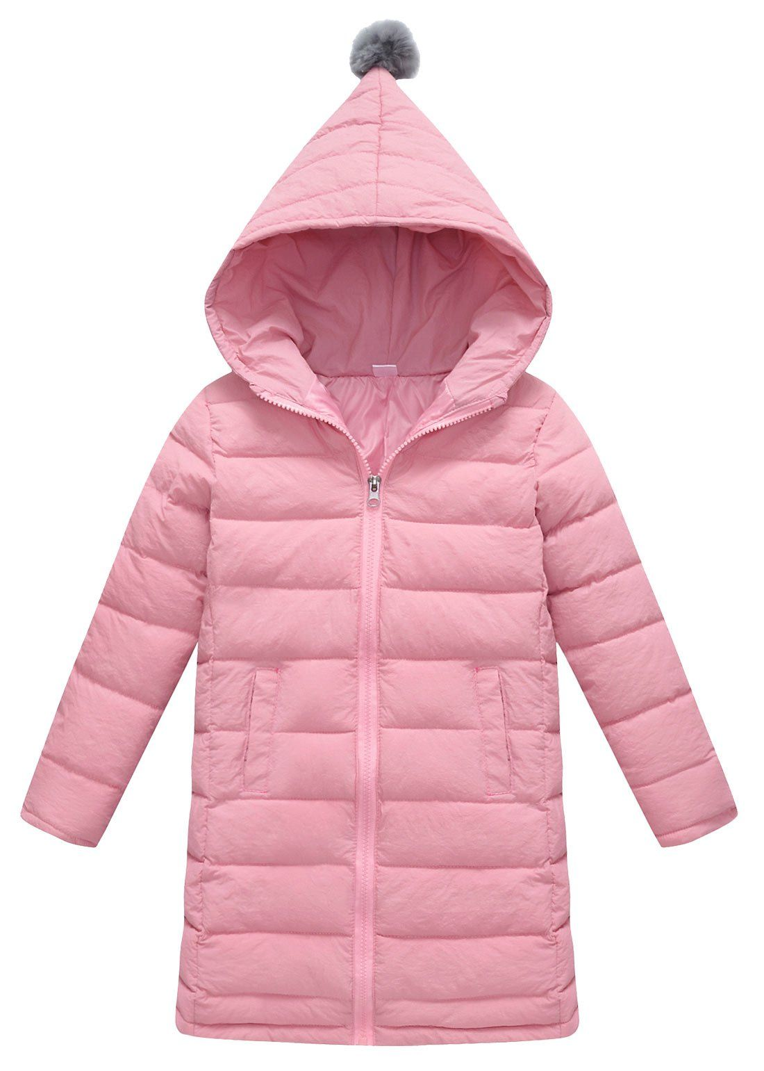 b4d2360a7 Big Girls Warm Winter Outerwear Hooded Lightweight Down Jacket Solid Puffer  Cute Coat Pink 1012Years ** Read more reviews of the product by visiting  the ...