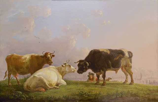 Jean Baptiste de Roy (1759-1839) A shepherd with cows and a bull, a town in the distance, oil on panel 41.5 x 64.5 cm., signed l.r. Collection Simonis & Buunk, The Netherlands.