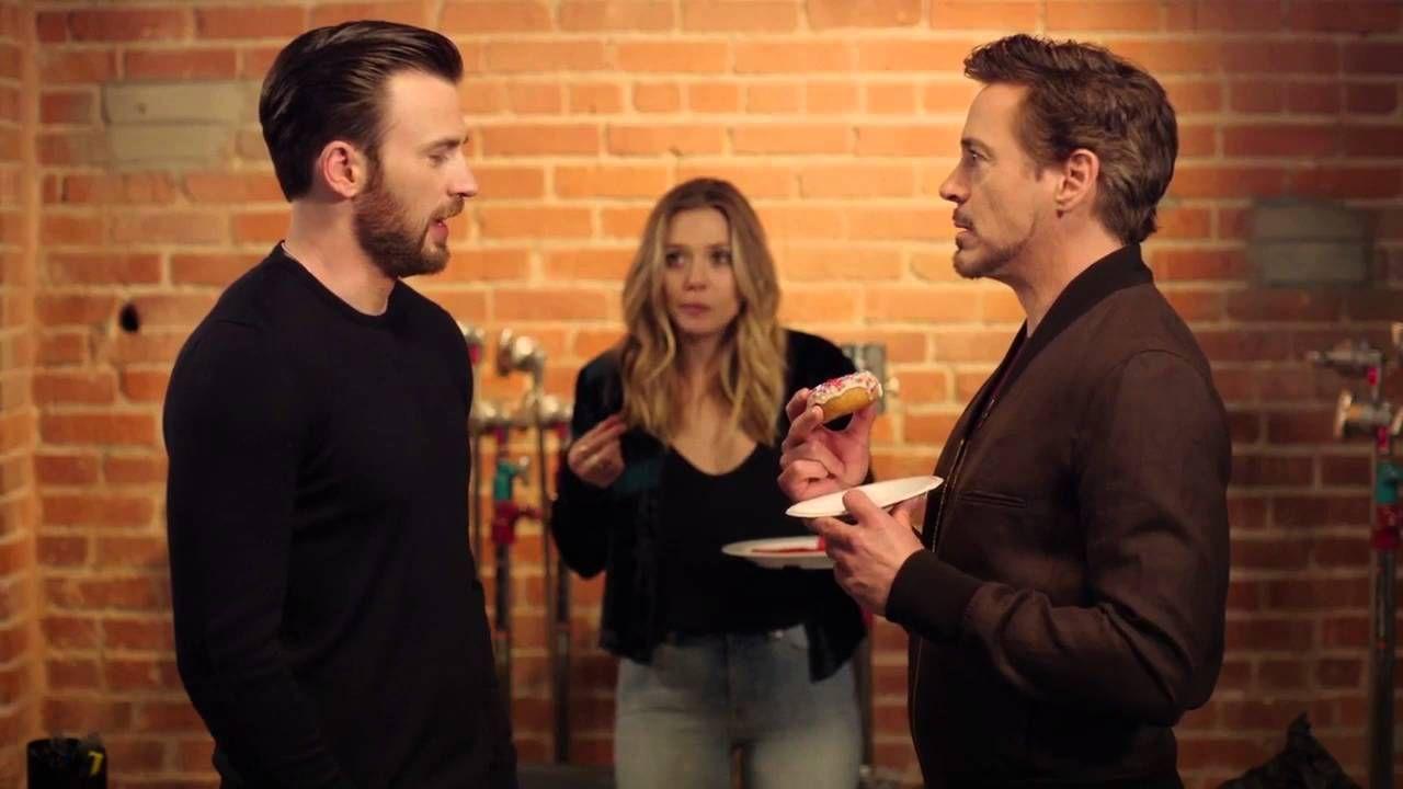 Chris Evans Robert Downey Jr Elizabeth Olsen Tony Steals The Last D Chris Evans Robert Downey Jr Marvel Funny