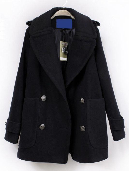 Navy Lapel Double Breasted Coat  ,Perfect for Women!