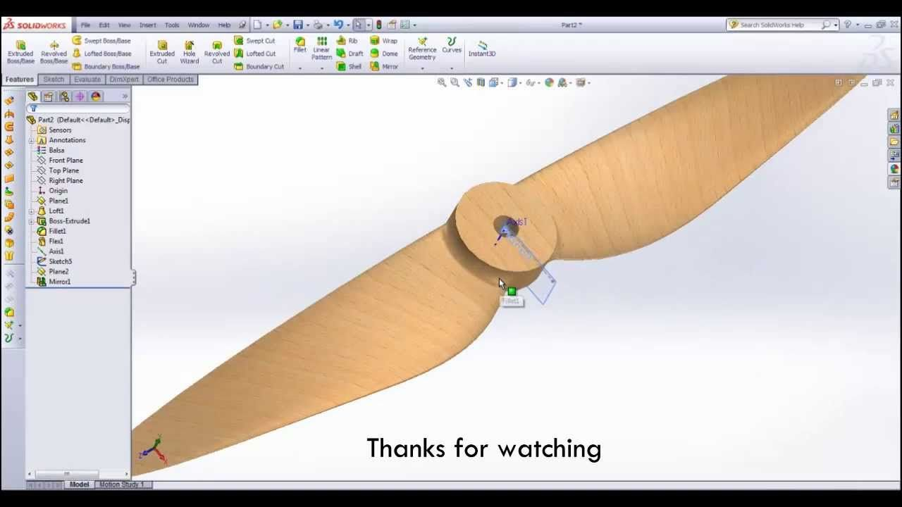 Solidworks Tutorial - How to make a PROPELLER | SolidWorks