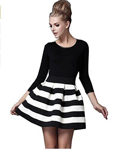 Black And White Striped A Line Skirt - Dress Ala