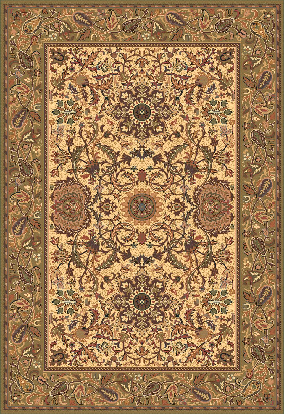 Kelati Tan Detailed Persian Rug With Brown Border Briers Home