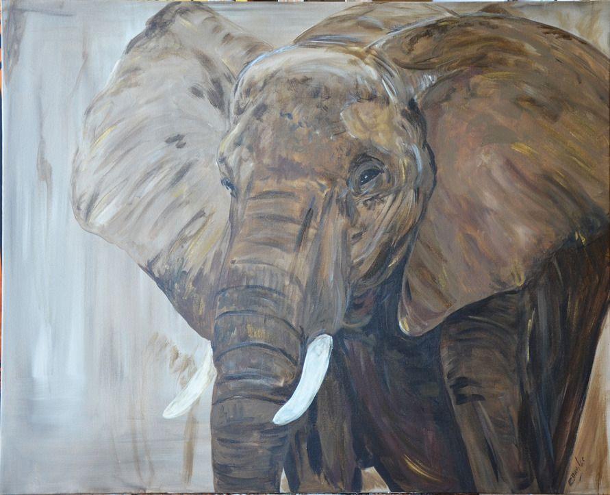 tableau animalier elephant d'afrique du sud : Peintures par tableaux-du-monde | Peinture ...