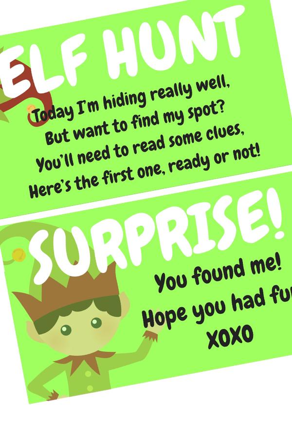 FREE Elf On The Shelf Scavenger Hunt Printable Elf on