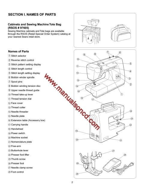 Kenmore 385.15008100 Sewing Machine Instruction Manual