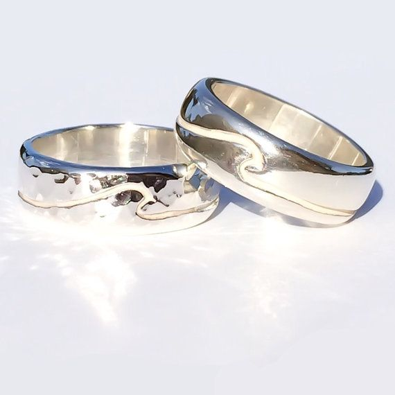 Size 6 Sterling Silver Wide Band Wedding Womens Or Mens Ring Unisex Ocean Inspired Handmade In Hawaii Beach Unique