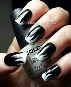 Image Result For Black White Nails Rock Nail Artrock