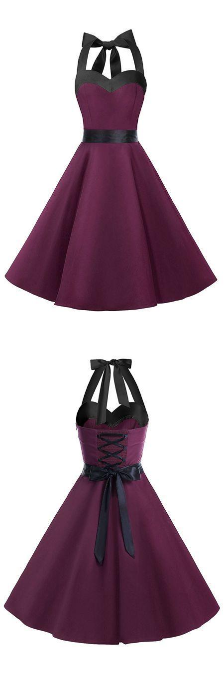 Vintage Style Halter Dark Purple Ruched Retro Party Dress vintage fashion ,vintage dresses,vintage dress,retro dress,vintage style dressvintage fashion ,vintage dresses,vintage dress,retro dress,vintage style dress