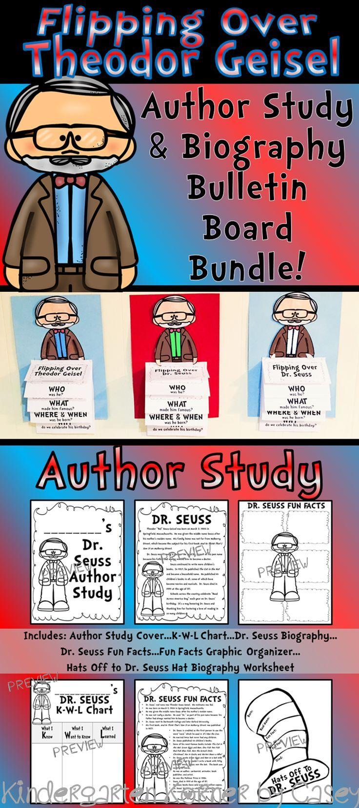 Theodor Geisel Dr. Seuss Author Study Biography Flip Books Bulletin ...