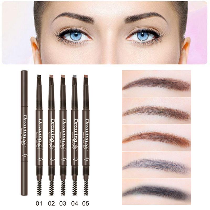 Profesional de Ojos Maquillaje Cosmético Impermeable Duradera Negro Natural Marrón Cejas Lápices de colores Con Mascaras