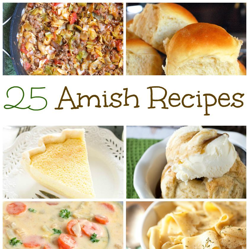 Check out this awesome list of Amish Recipes including breakfasts, dinners, breads and desserts.