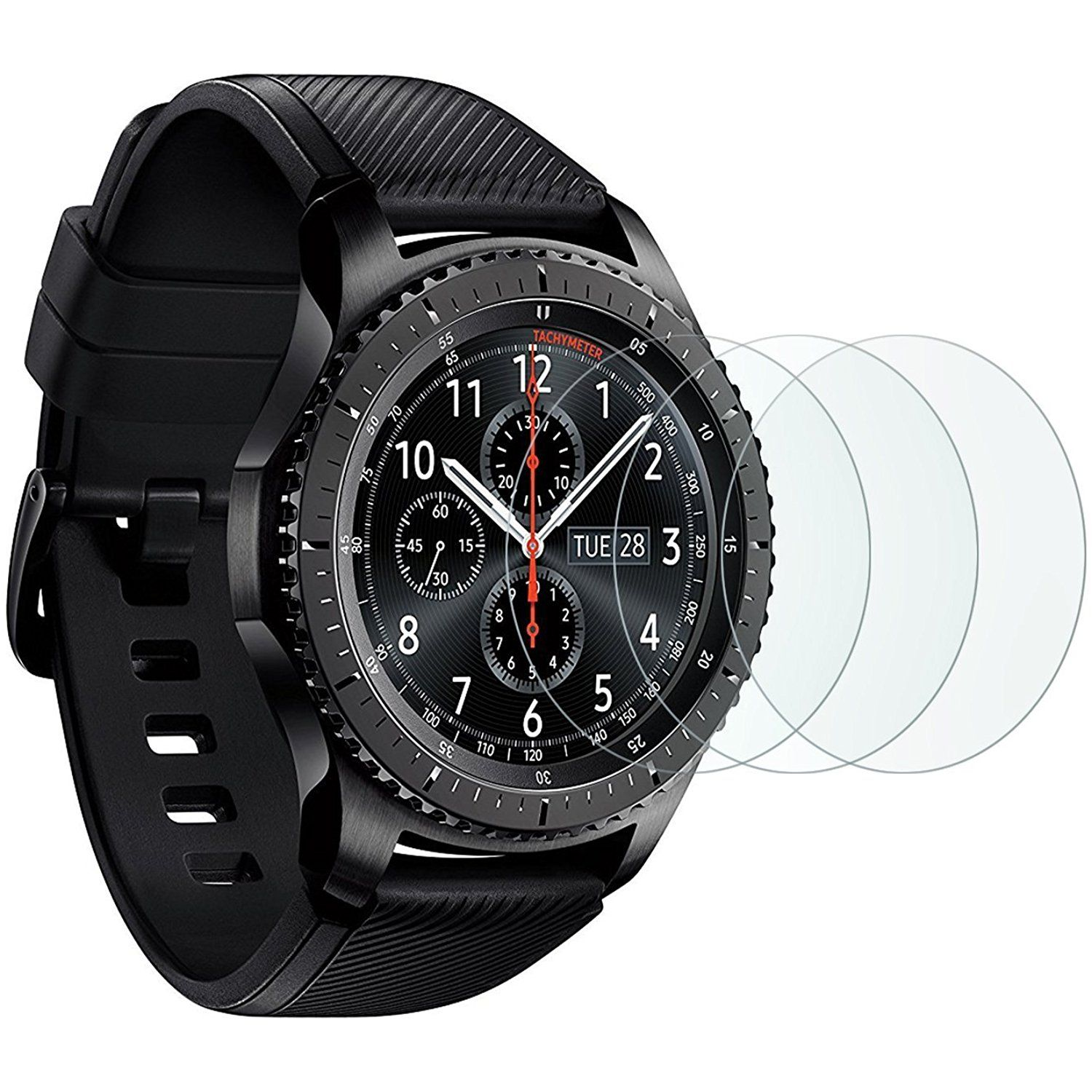 Samsung Gear S3 Screen Protector 3 Pack Omoton Full Coverage Tempered Glass Screen Protect Samsung Gear S3 Frontier Pack Film Smartwatch Bluetooth