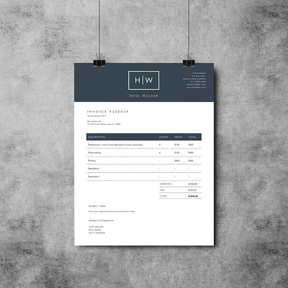 Photographer Invoice Template | Invoice Design | Receipt Template ...