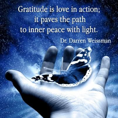 Gratitude is love in action; it paves the path to inner peace with light.