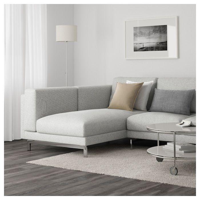 3er Sofa Nockeby Tallmyra Mit Recamiere Links Tallmyra Verchromt Weiss Schwarz Verchromt In 2019 Praxis Weisse Couch 2er Sofa Und 3er Sofa