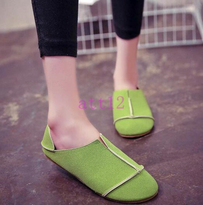 b46ae46827ff Chic Womens Round Toe Slip On Loafer Faux Suede Slippers Pumps Flat Casual  Shoes