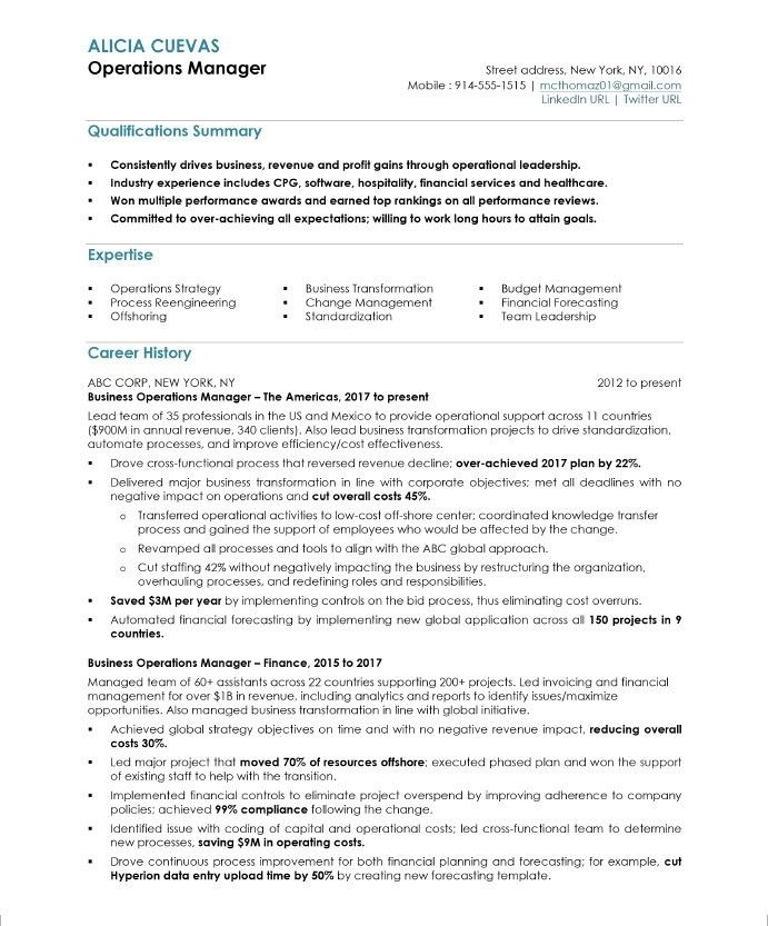 Operations Manager Resume Sample Business Resume Samples