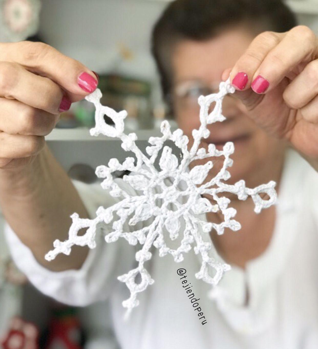 Paso a paso para tejer a #crochet un copo de nieve (aunque parece ...