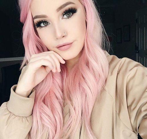Green Eyes Nose Ring And Youtuber Image Pastel Pink Hair Color Hair Color Pink Pink Hair