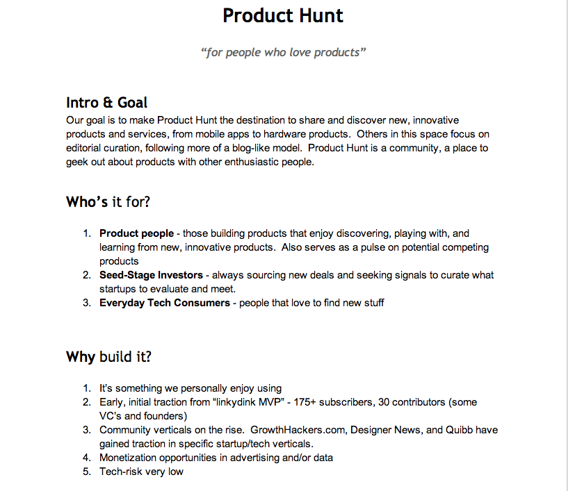 ProductHunt product requirements document | Web | Business