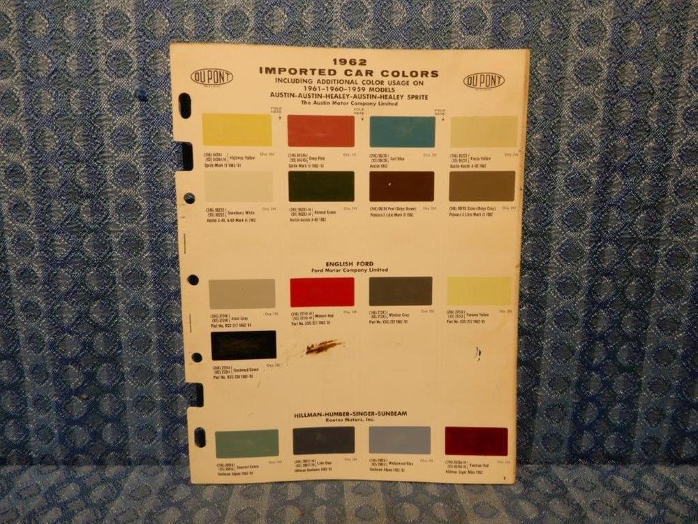 1962 Import Car Original Paint Color Chip Chart Austin Mg Hillman Renault Volvo Dupont Car Colors Import Cars Color Chip