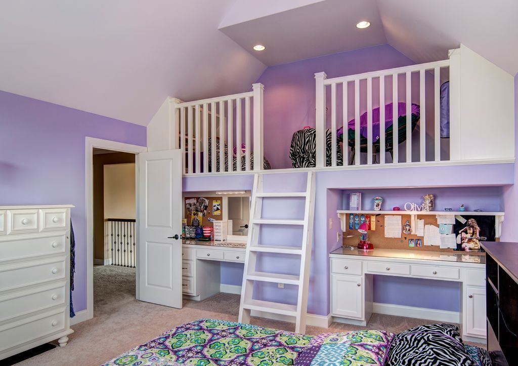 Traditional Kids Bedroom with Cathedral ceiling, Loft