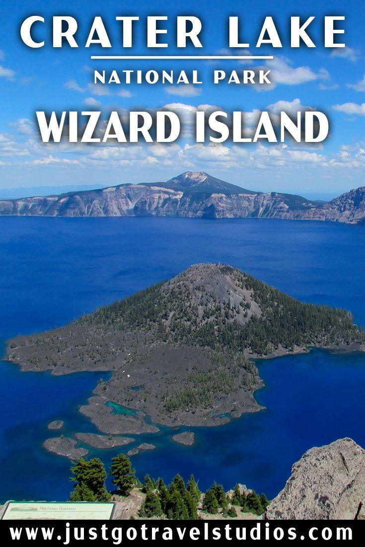 Just Go to Crater Lake National Park – Wizard Island #craterlakenationalpark Wizard Island in Crater Lake National Park is a great way to spend the day in the park, right in the Caldera!  Our blog will tell you how to get to Wizard Island and what to see and do while you are there. #justgotravelstudios #craterlakenationalpark #craterlakenationalpark