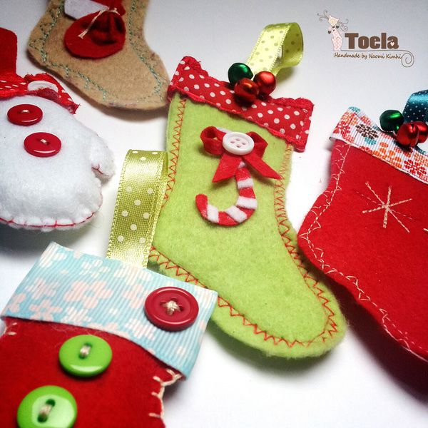 Tiny Felt Stocking Ornament Approx 3 X2 With Cute