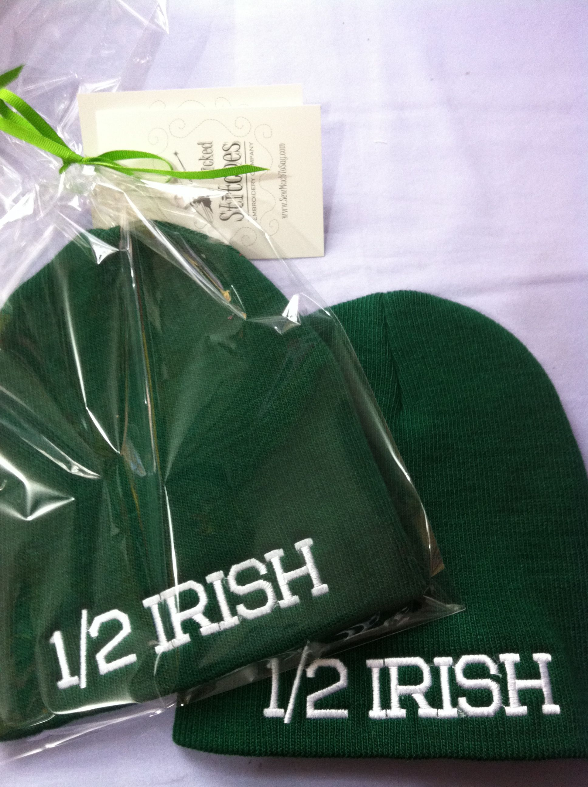 #Custom #embroidered 1/2 #irish #hats, perfect for St. Patrick's Day! By #WickedStitchesGifts