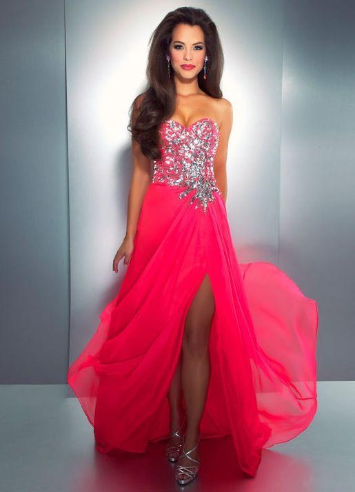 Neon pink beautiful prom dress. | prom dresses | Pinterest | Prom ...
